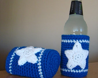 Star Bright Crochet can or bottle drink Cozy Coaster , pair