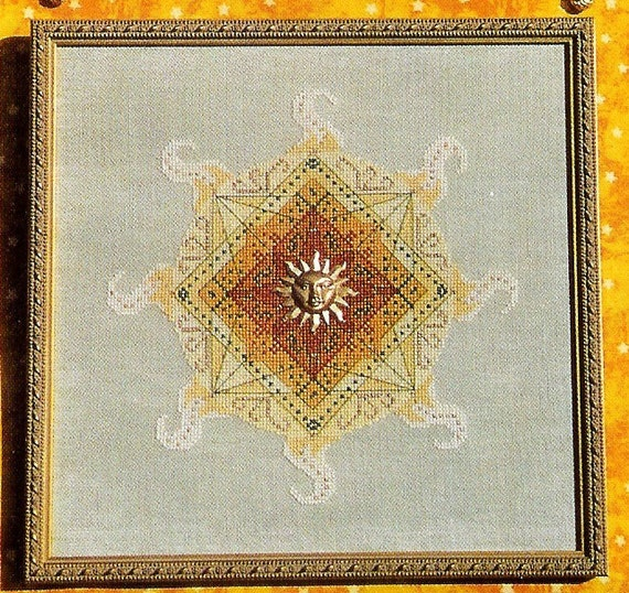 Sun Sparkle counted Cross-Stitch chart, needlepoint embroidery celestial