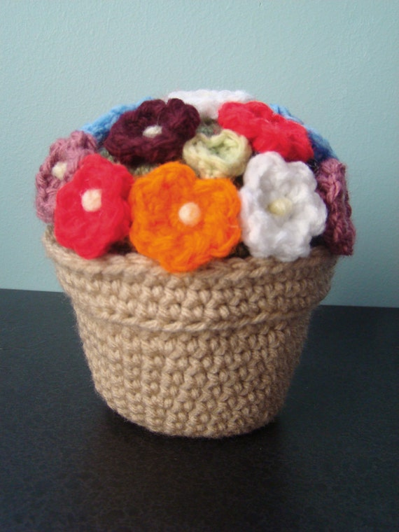 Crochet Flowers in Pot, African Violets or Rainbow