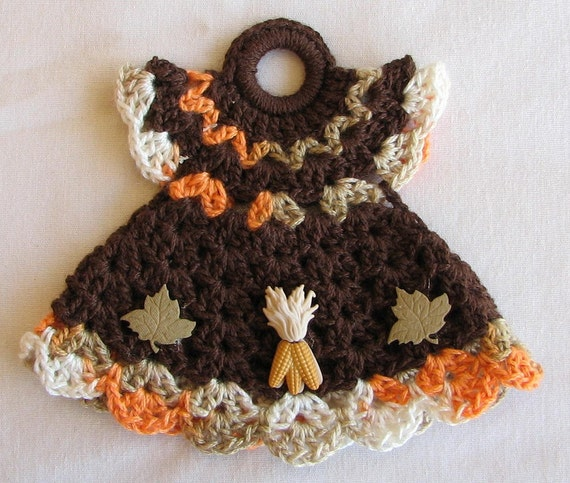 Crochet Pattern For A Doll : Decorative Crocheted Doll Dress Pot Holder Fall/Maple Leaves
