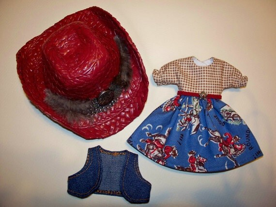 SALE----Blythe Doll Cowgirl Dress  With Denim Vest and Cowboy Western Red Hat
