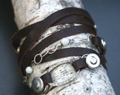 Unisex  Leather Wrap Bracelet  in Chocolate Brown by Madre de Olivia