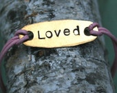 Custom Leather bracelet -LOVED with Heart charm