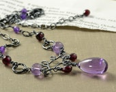 Amethyst Garnet Necklace Oxidized Sterling February Birthstone