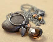 Smoky Quartz Oxidized Sterling Necklace Heart Charm