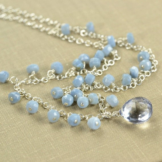 Blue Opal Sterling Silver Quartz Necklace, October Birthstone, Cornflower Blue