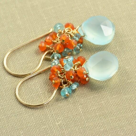 Aqua Chalcedony Earrings Carnelian Apatite Gold, Summer