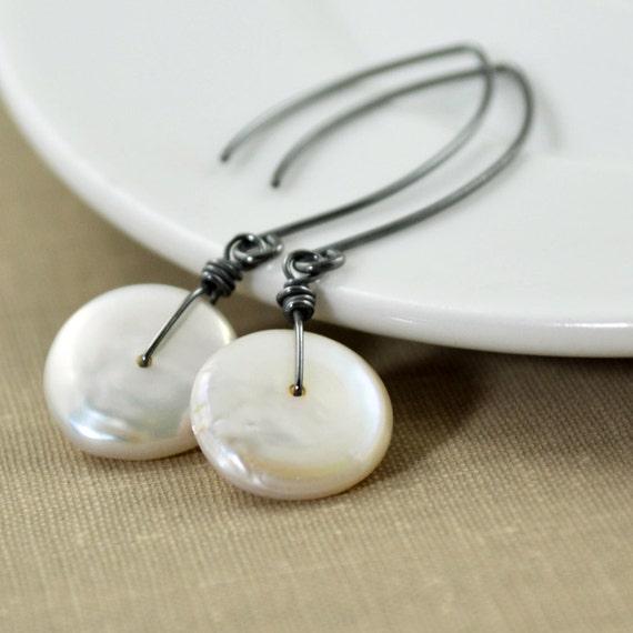 White Coin Pearl Earrings, Oxidized Sterling Earrings, Long Silver Handmade Earrings