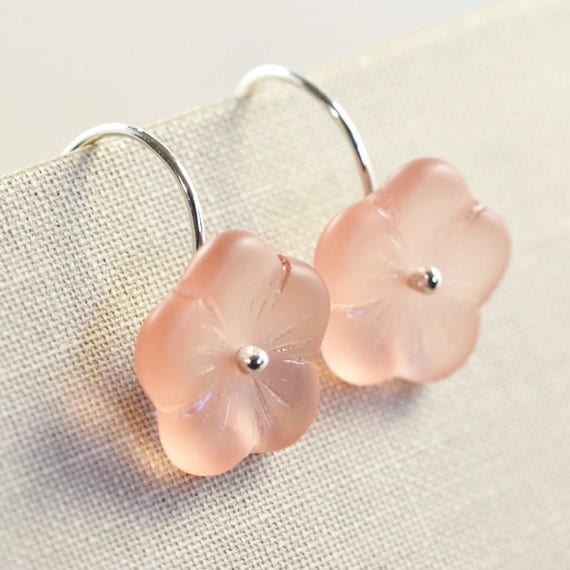 Peach Pink Sterling Earrings Vintage Glass Flower Handmade