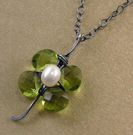 Lucky Lass Necklace - Faceted Quartz Briolettes, Peridot, Sterling