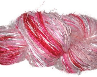 Scraplet Skeins unique hand-tied art yarn in Rockin' Robin (shades of pink, white, fuchsia, red)- 120 yds.
