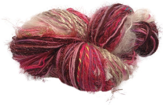 RESERVED for Gail: Best of Both Skeins unique multi-textured hand-tied OOAK art yarn in Berry Sorbet- 120 yds.