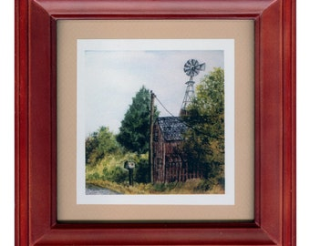 "6.5""x6.5"" Framed card BARN WITH WINDMILL"