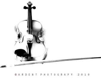 Violin and Bow in Black and White Wall Art Room Decor - The Stark Violin - a Fine Art Photograph