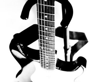 Black and White Electric Guitar Downward Perspective Musical Wall Art Home Decor - Downward Guitar -  a Fine Art Photograph