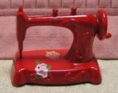 Miniature Red Sewing Machine - Seamstress Dollhouse Stitcher