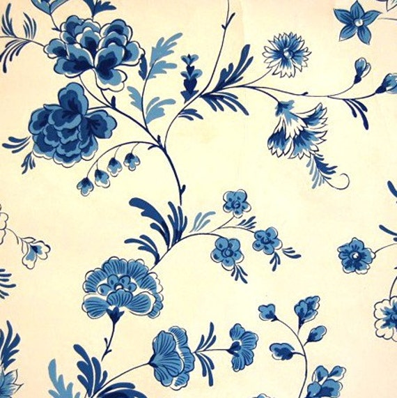 items similar to blue floral vintage wallpaper on etsy