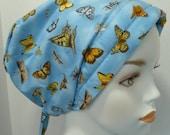 Cotton Chemo Head Wrap Hair Loss Scarf Turban Hat Pretty Blue Butterfly Alopecia