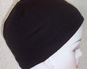 Ladies Black Chemo Cancer Sleep Cap Scarf Liner Hat