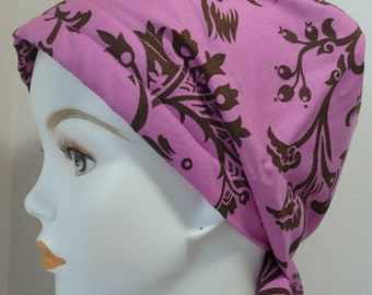 Womens Pink Floral Hair Loss Cancer Hat Chemo Scarf Cap Head Wrap Alopecia Turban Headcovering