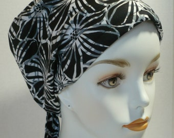 English Traditions Black White Floral Chemo Scarf Cancer Turban Hat Cotton Bad Hair Day Head WrapCover