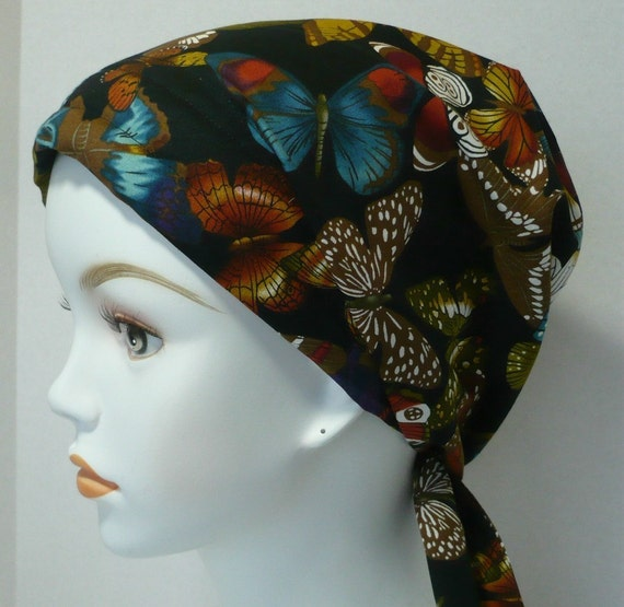butterfly chemo hat cancer cap scarf hairloss by