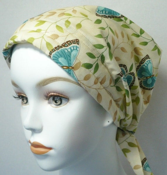 Teal Butterflies on Cancer Chemo Scarf Hairloss Headwrap Turban Hat