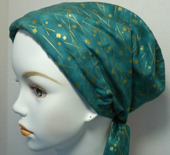 teal cancer hat chemo scarf hair loss scarf wrap turban