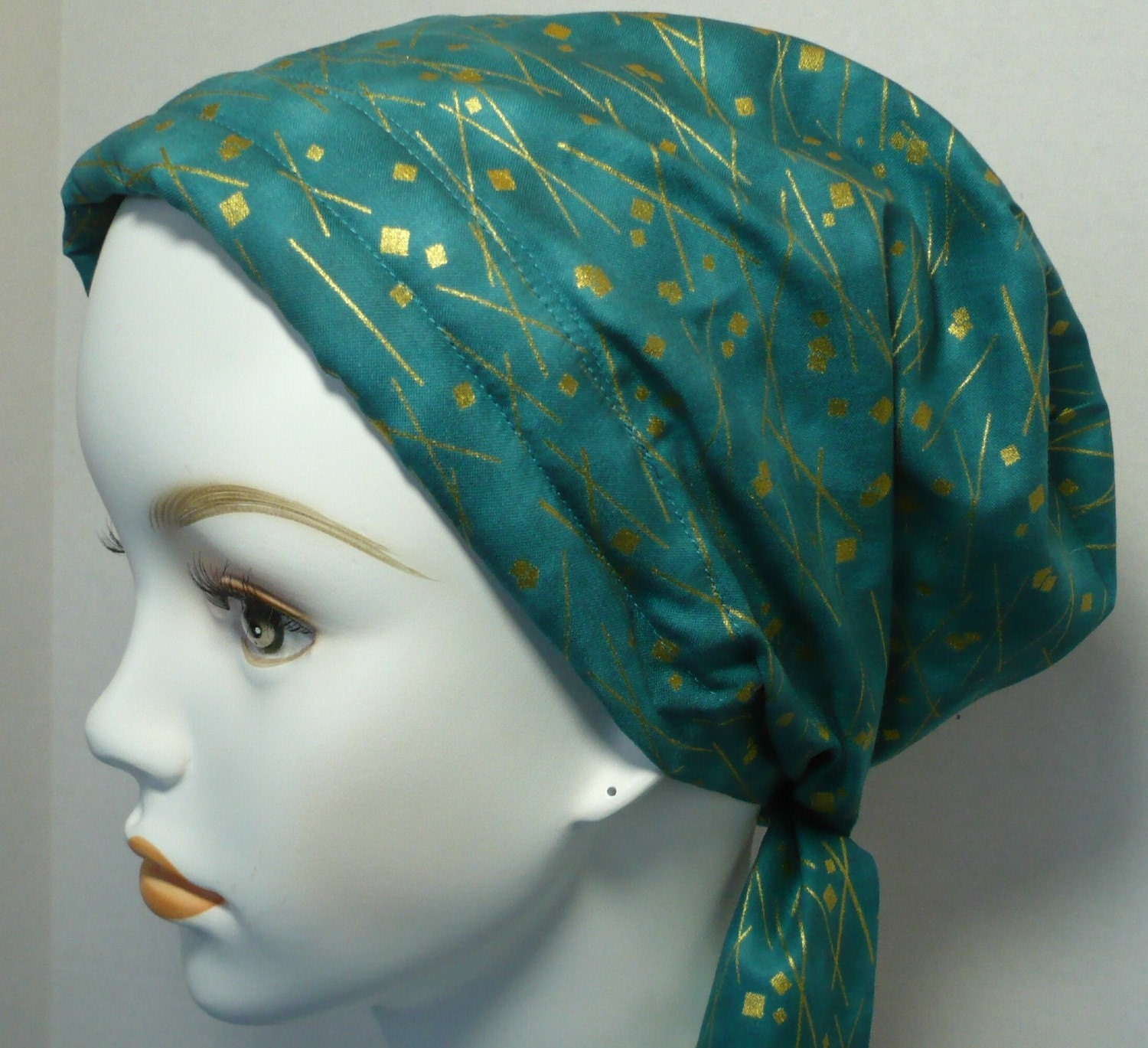 teal cancer hat chemo scarf hair loss scarf wrap turban