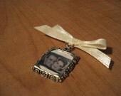 Wedding Bouquet Memory Charm - White Bow