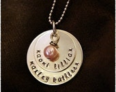 Necklace with Kids Names with Pearl or Birthstone- Personalized Stamped Necklace- Custom Gift for Mom
