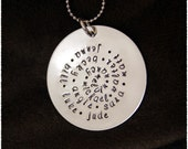 Mom Gift- Family Name Swirl Necklace- Sterling Jewelry Tag made for LOTS of names- Can be added to at later date