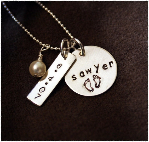 Mommy Necklace with Kids Names- Perfect for New Baby or Two Kid Names- Stamped Custom Jewelry