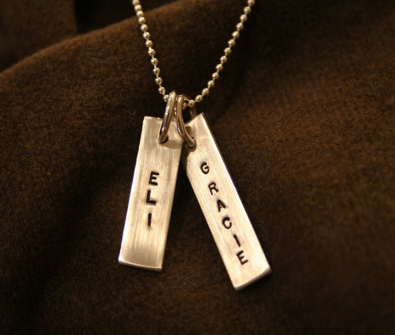 Two Tag Custom Handstamped Sterling Necklace- Personalized with Names or Date- Great Option for Guy or Girl