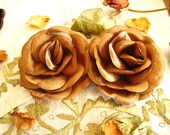 Lot of 2, 3 inch Satin Padded Caramel Rose Flower Satin Appliques