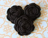 Lot of 3 Black Crochet Flower Applique - 3D Ruffled Rose For Headbands, bags