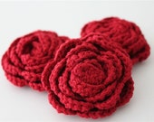 Lot of 3 Red Crochet Flower Applique - 3D Ruffled Rose