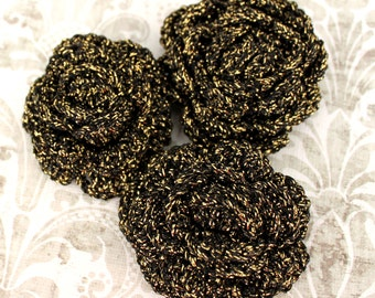 3 pieces Black Crochet Flower Applique with Golden Glitter Thread - 3D Ruffled Rose for Brooch