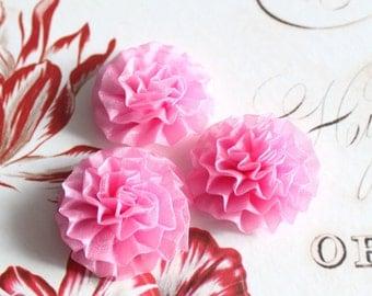 "Lot of 6, Light Pink Organza Chrysanthemum Flower Appliques in 1.5"""