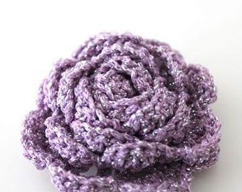 2 pcs Lilac Glitter Crochet Flower Appliques - 3D Ruffled Rose for Brooch