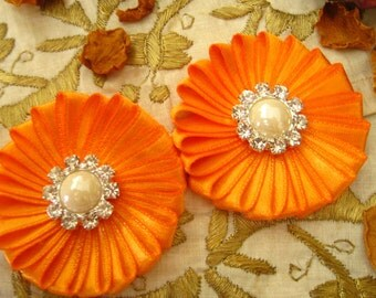 Orange Daisy Satin Flowers