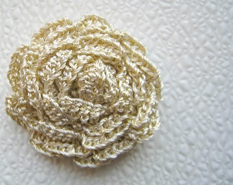 3 pieces Golden Crochet Rose Flower Applique 2 inches
