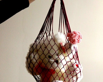 Burgundy Eco Friendly Shopping Net Bag, Great for  go to the beach, shopping, hold dirty clothes, toys, beach accessories