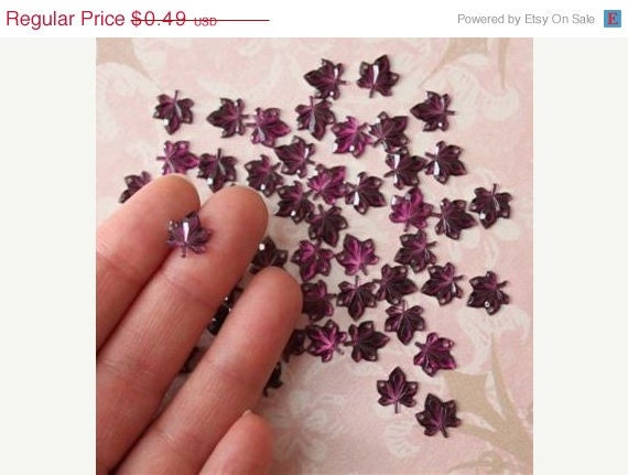 HALF PRICE SALE 50 pcs Purple Maple Leaf  Resin Sew-on Rhinestone with 2 Holes Great for Flower Appliques, Thanksgiving, Fall, Autumn Decor