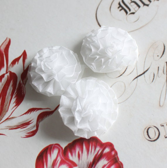 """Lot of 6, White Organza Chrysanthemum Flower Appliques in 1.5"""""""