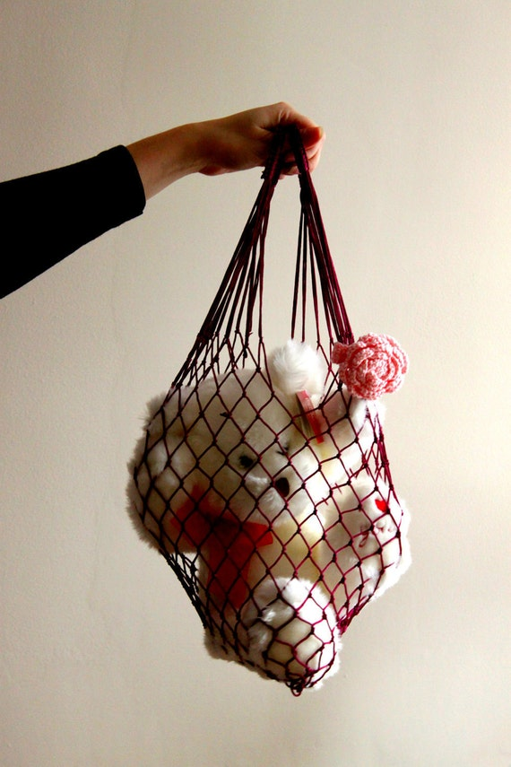 LAST ONE Burgundy Eco Friendly Shopping Net Bag, Great for  go to the beach, shopping, hold dirty clothes, toys, beach accessories
