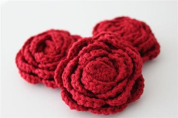 Lot of 3 Red Crochet Flower Applique - 3D Ruffled Rose