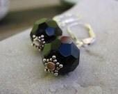 black faceted drop earrings
