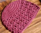 Crochet Child's Hat - Heather Mauve - size 3-6 months