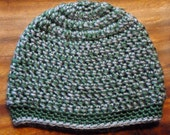 Crochet Child's Hat in Green and Gray - size 3-12 months
